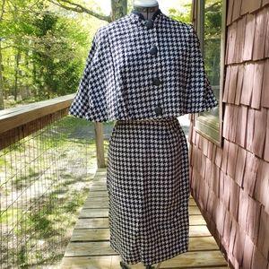 Vintage 1960s Knit Navy Blue Skirt Set Cape Sleeve